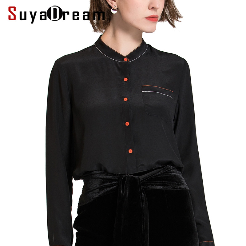Women Silk   Blouse   100% REAL SILK chiffon Fashion long sleeved Single pocket   blouse     shirt   Blusas femininas 2018 Fall Black