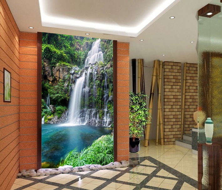 Eco Friendly Fresco Waterfall Landscape Photo Wallpaper