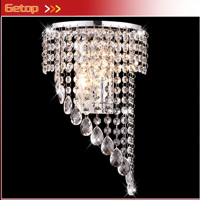 Luxe K9 cristal rideau en acier inoxydable E14 mur LED lampe pour chevet hôtel chambre escalier salon