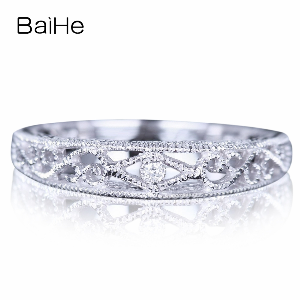BAIHE Sterling Argent 925 0.005CT Certified H/SI Round CUT 100% Véritable Naturel Diamants De Mariage Femmes À La Mode Fine Jewelry anneau