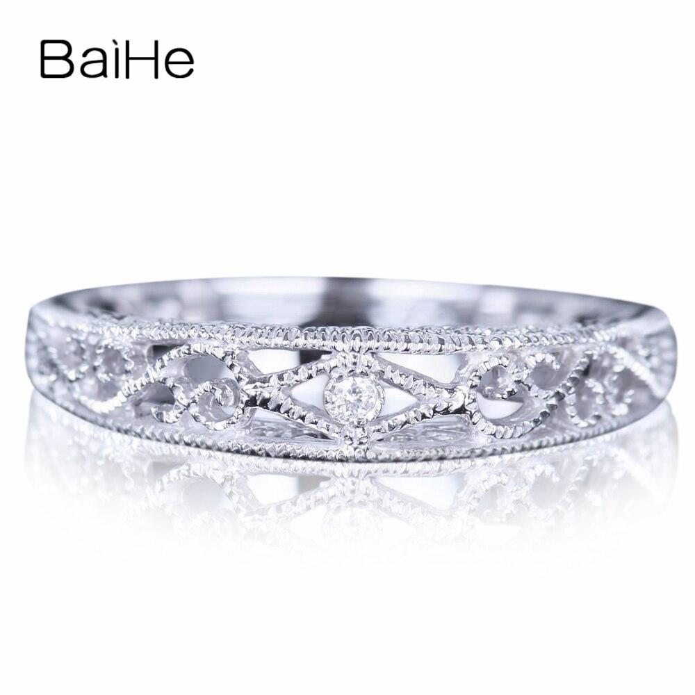 BAIHE Sterling Argent 925 0.005CT Certified H/SI Round CUT 100% Véritable Naturel Diamants De Mariage Femmes À La Mode bijoux fins Anneau