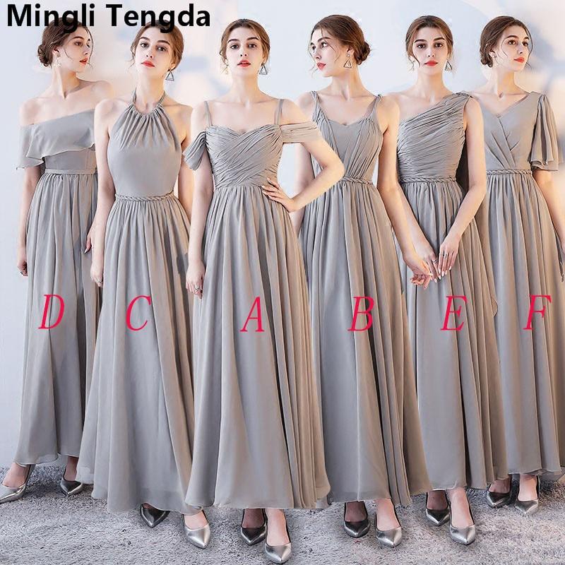 Gray A-Line Chiffon   Bridesmaid     Dresses   2018 Elegant Spaghetti Straps   Dresses   for Wedding Party vestido de festa Mingli Tengda