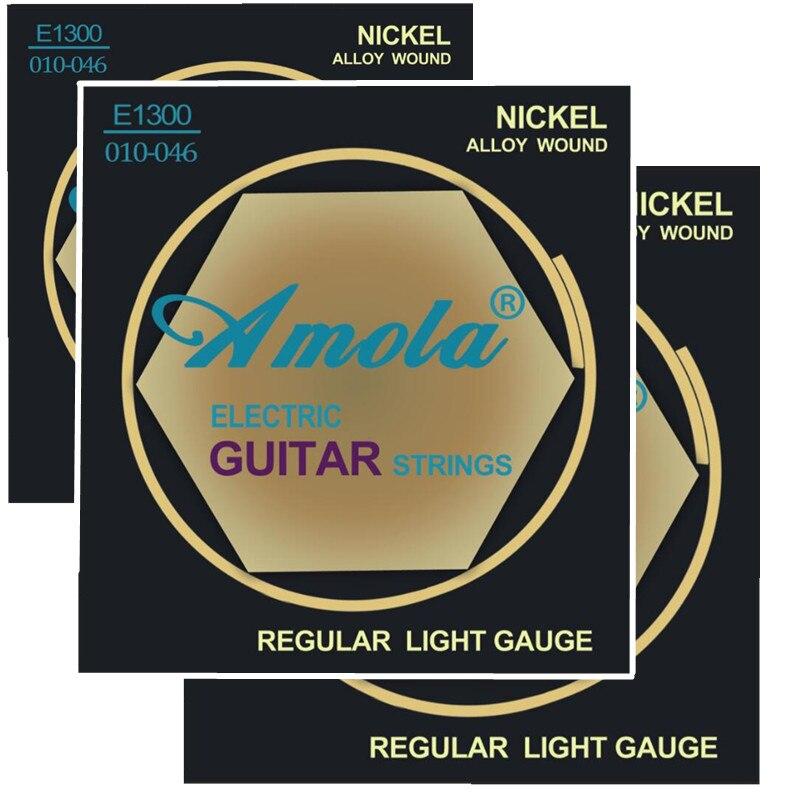 Амола Е1300 .010-.046 Жице за електричну гитару Регуларни мерач светлости Никл гитарски делови прибор за гитару 3Сетс / лот