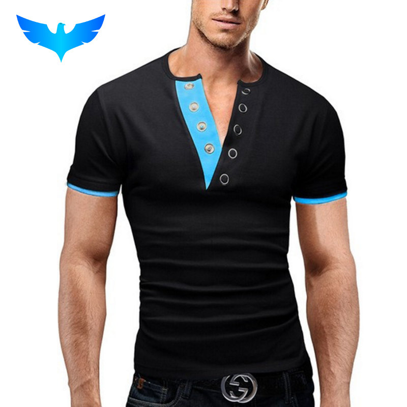 QINGYU Brands   Polo   Homme V-Neck Men 2018 Shirt Casual Mens Camisa Blue   Polos   Hombre Solid Manga Corta Fashion Marca XXL QSP