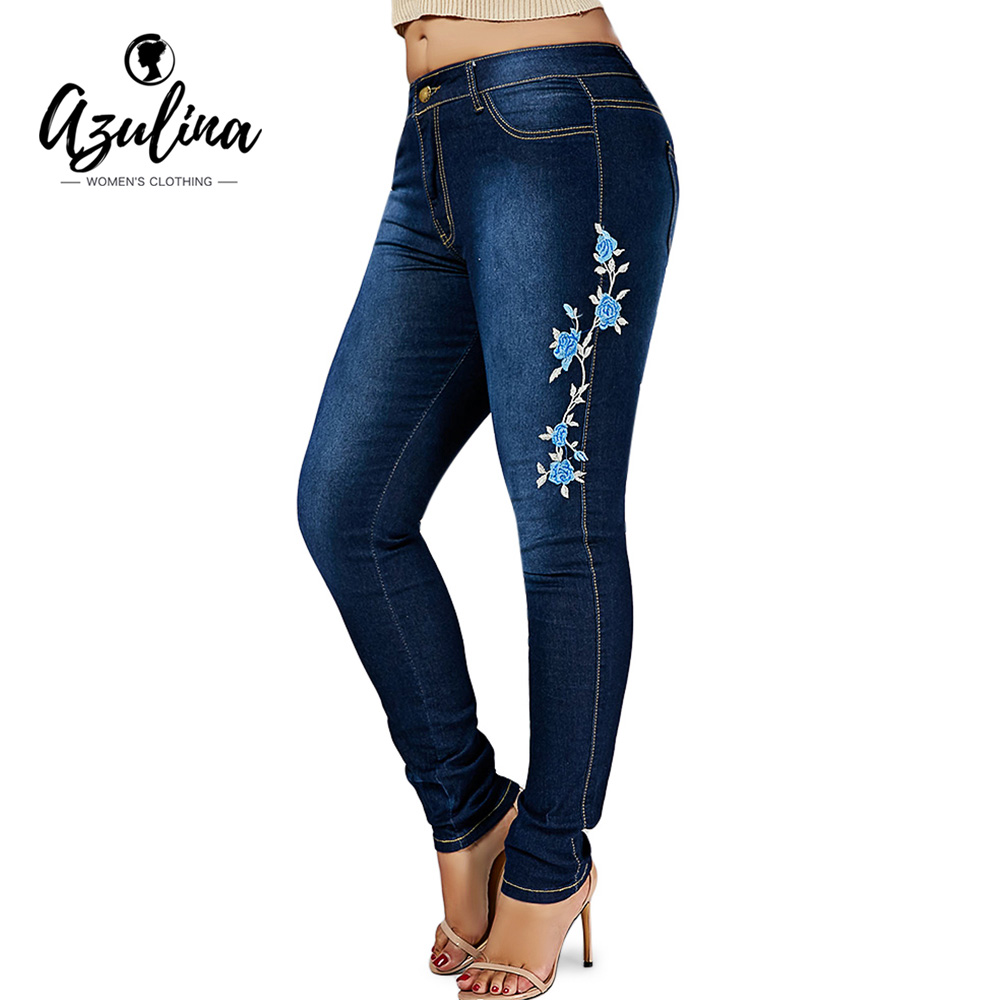 Azulina Size Floral Embroidered Skinny Jeans Women Pant Cotton