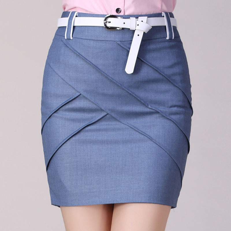 Send Belt Back Pockets & Zipper Design Solid Color Office Lady ...