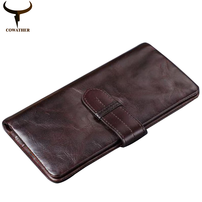 COWATHER 100% TOP cow genuine luxury leather men wallets high quality  men purse vintage style new designer male free shipping bvp luxury brand weave plain top grain cowhide leather designer daily men long wallets purse money organizer j50