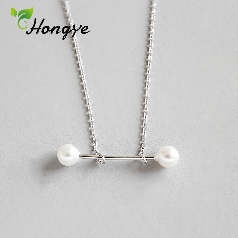 Hongye Real Pearl Necklace for Women Simple Design Natural Pearl Pendant Necklace Silver 925 Personalized Girls Neck JewelryHongye Real Pearl Necklace for Women Simple Design Natural Pearl Pendant Necklace Silver 925 Personalized Girls Neck Jewelry
