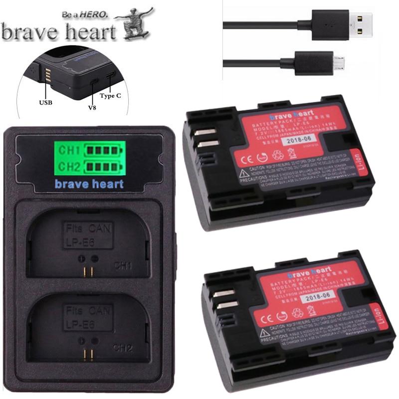 2x Decodiert 1865 Mah Bateria Lp E6 Lpe6 Lp-e6 Kamera Batterie Lp-e6n Lp E6n Für Canon Dslr Eos 60d 5d3 7d 6d 70d 5d Mark Ii Iii Batterien