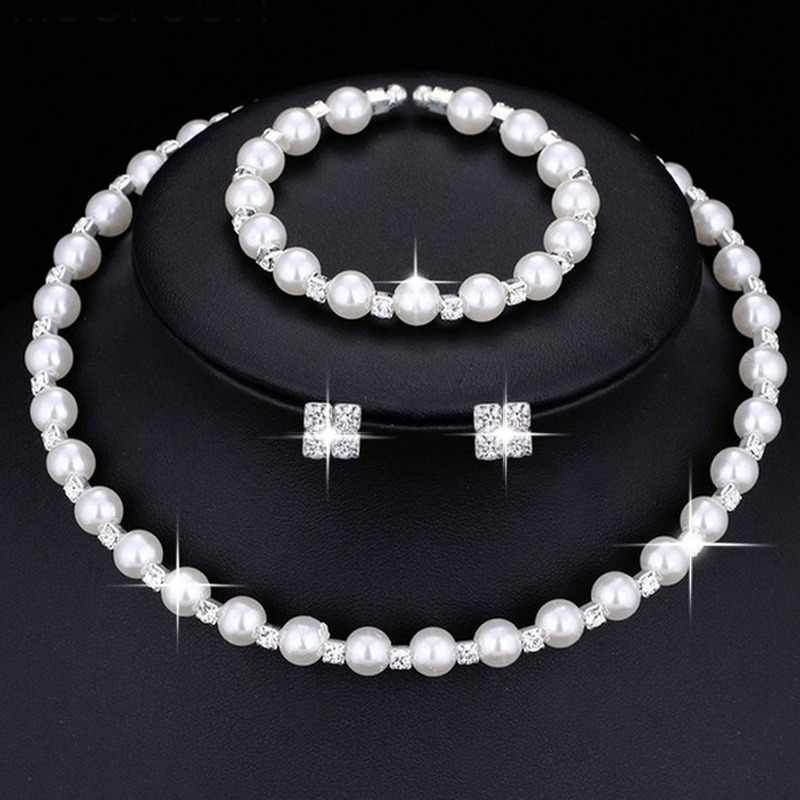 Fashion Wedding Bridal Jewelry Set Pearl Party Prom Gift Silver Crystal Bracelet Necklace Earrings for Women jewellery sets