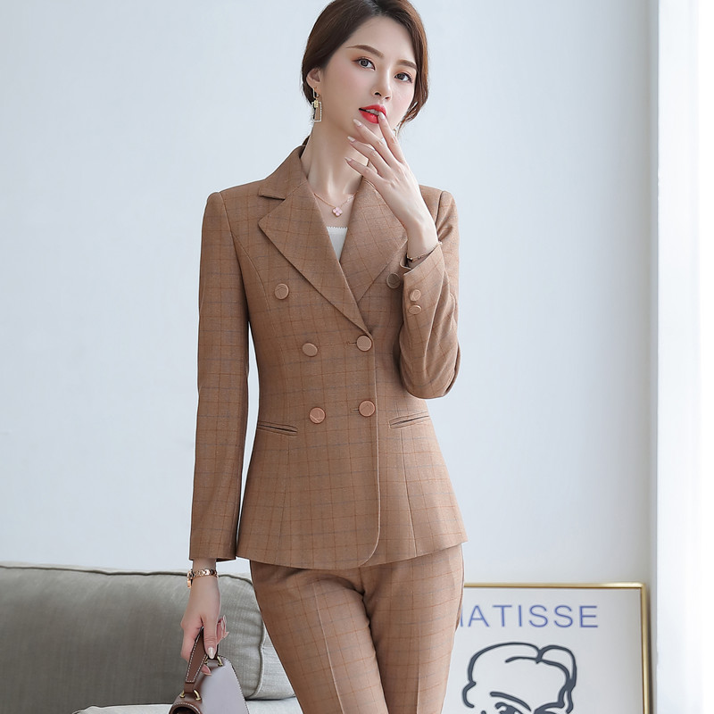 2019 Autumn Plaid pants sutis women slim fashion temperament professional long sleeve blazer and pants office ladies foraml work 3