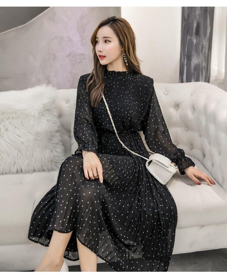 Black Vintage ClotheS Spring Lady Long Chiffon Dress
