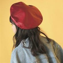 Korean Style Felt Beret Women Black Red Pu Leather Beret Hat For Women Spring Autumn Flat Cap Gorras Female Retro Beanie AHT101