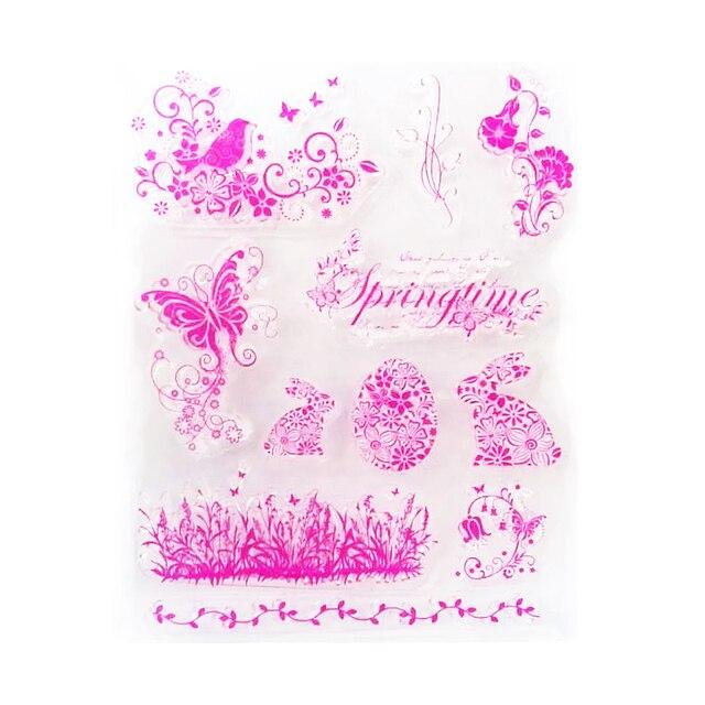 Весна серии красочные Прозрачный Штамп Ясно Печать DIY Скрапбукинга штамп Декоративные бесплатная доставка