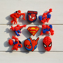 1pc Spider Man PVC Shoe Charms Shoe accessories Shoe decoration Shoe Buckles Accessories Fit Bands Bracelets Croc JIBZ For Kids(China)