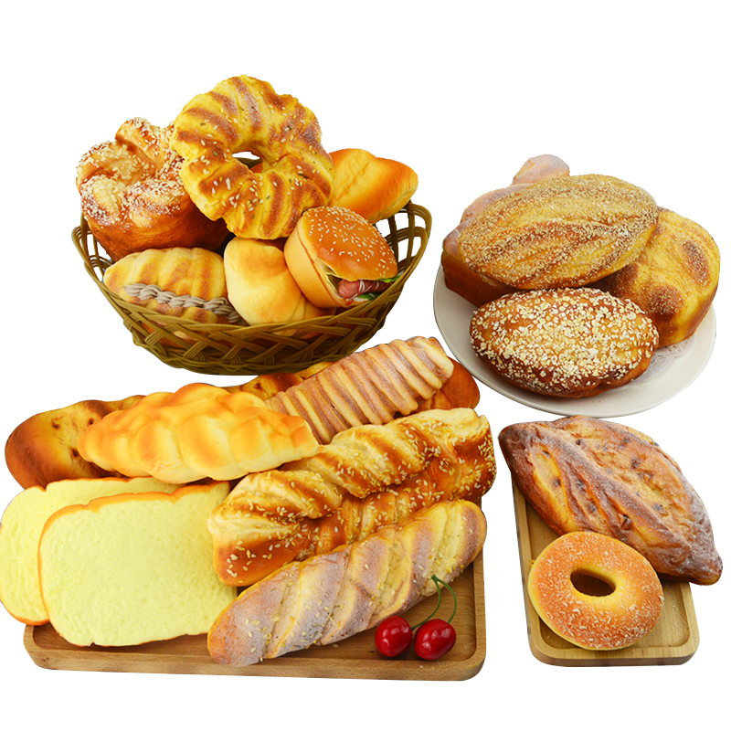 Festive Party Supplies Artificial Decorations Foods Soft Springback Simulation Bread Cake Model Decoration Props 11pc lot