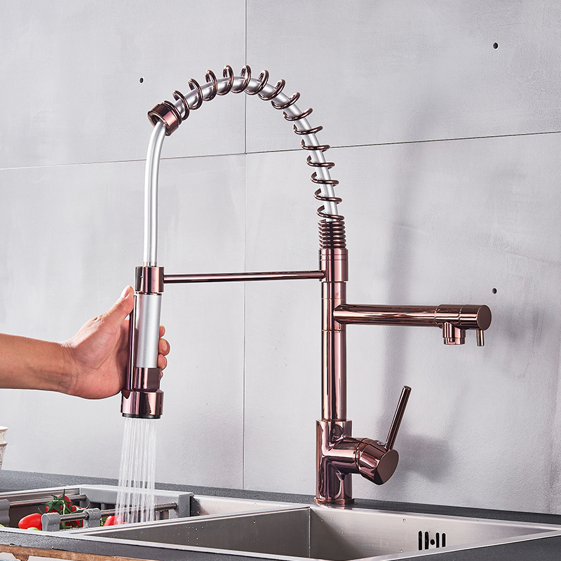 Quyanre Black Rose Gold Kitchen Spring Faucet Pull Down Dual Spouts Single Handle Mixer Tap 360