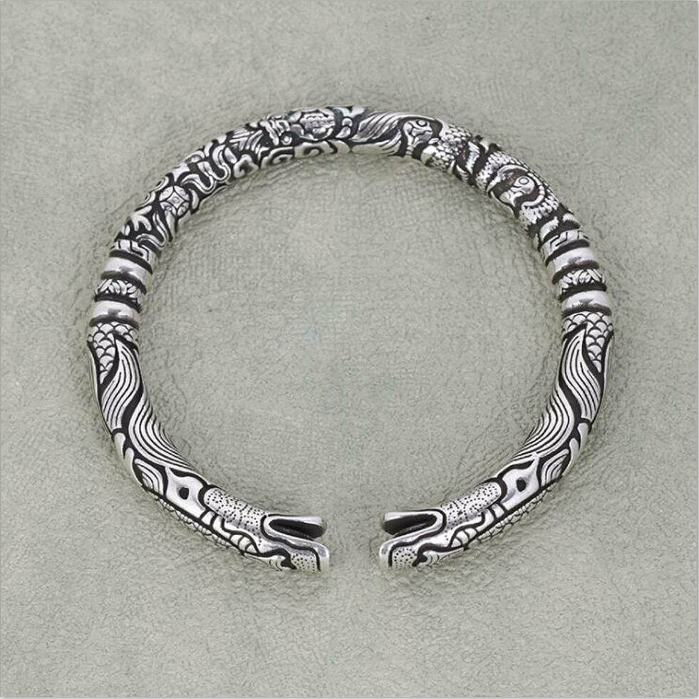 New 925 Sterling Silver Jewelry Retro Thai Silver Embossed Personality Domineering Faucet Opening Bracelet For Men T0296