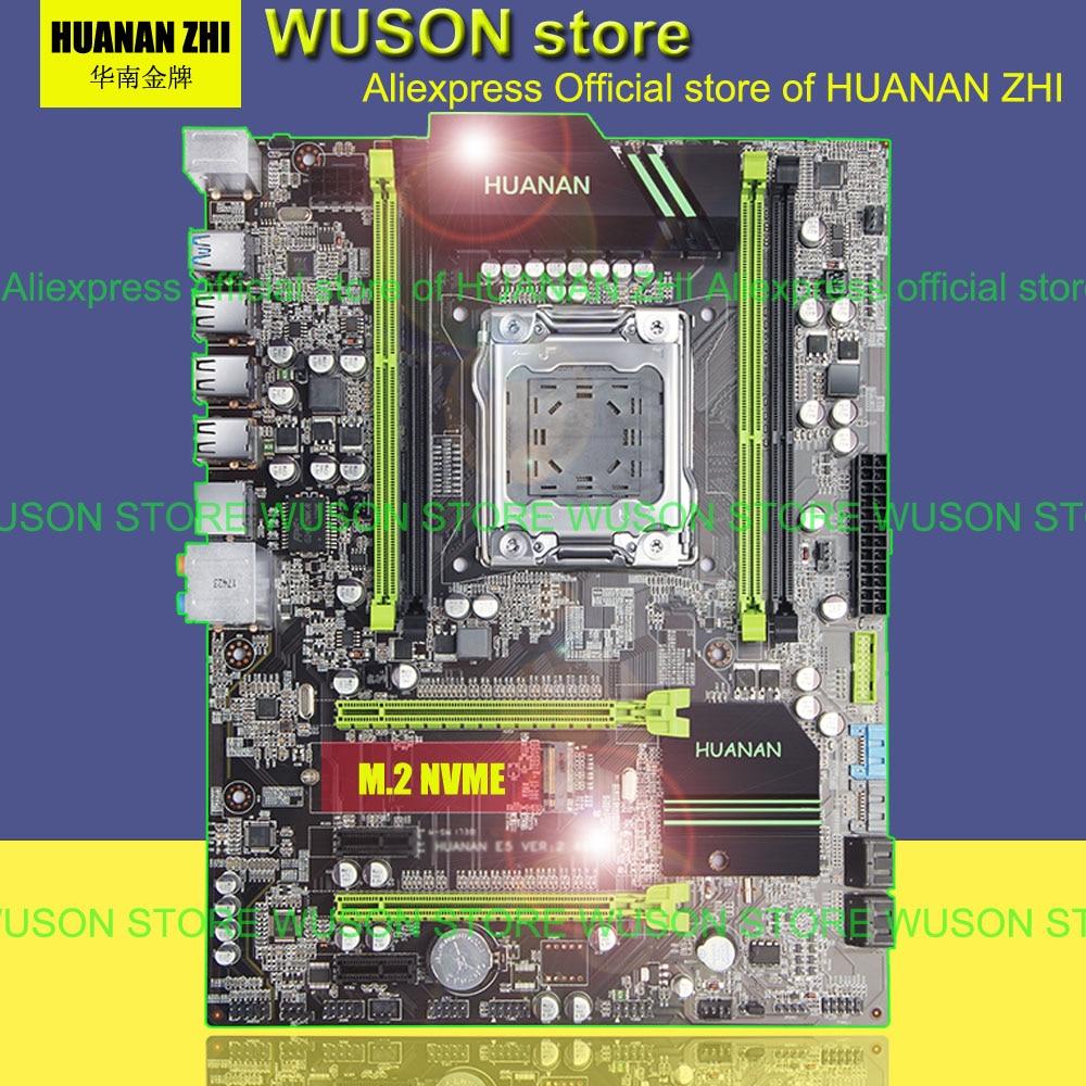 Meilleur vente HUANAN ZHI X79 carte mère 2.49/2.49 p ATX SATA3 USB3.0 port PCI-E NVME SSD M.2 port soutien 4*16g 1866 mhz mémoire