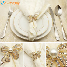 Joyathome 6-12pcs/Lot Western Style Luxurious Bow Napkin Ring Gold Plated Diamond Pearl Buckle for Table