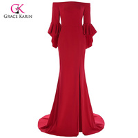 Grace Karin Red Evening Dress 2017 Boat Neck High Slit Ruffle Sleeves Floor Length Formal Evening