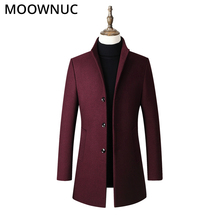 Overcoat Warm Wool Men Fashion Woollen Male Business Thick Casual Autumn Winter Coat Blends Brand Clothing Mens MOOWNUC