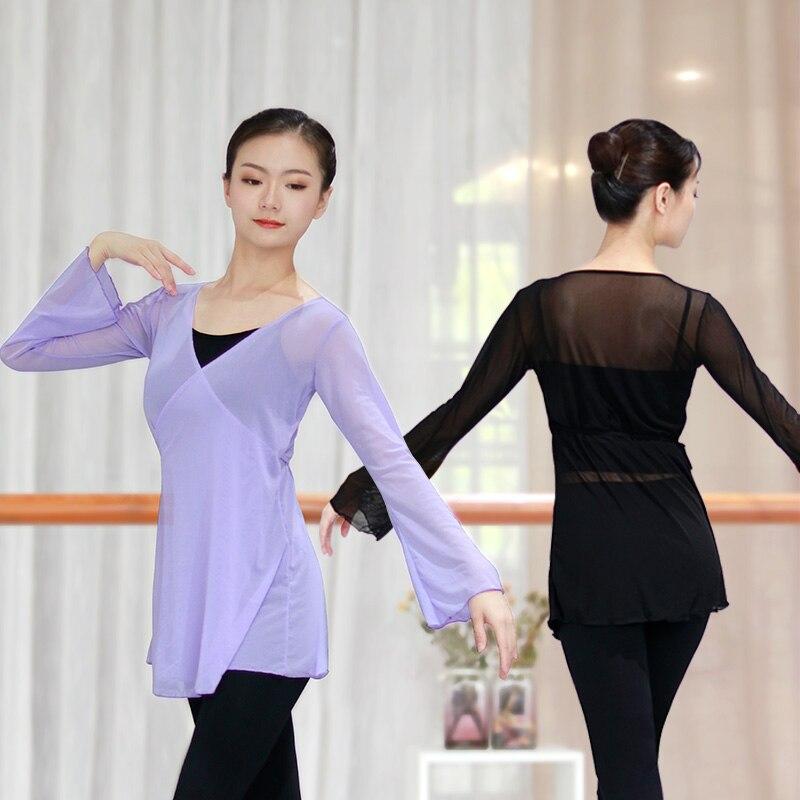 Women Mesh Ballet Dance Overall Flare Sleeve Adults Girls Women Ballet Tops Wrap Dance Coats
