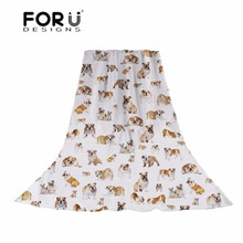 FORUDESIGNS Cute French Bulldog Print Women Scarves Ladies Funny Puppy Pattern Slik Scarf for Females Fashion Beach Hijab Wraps
