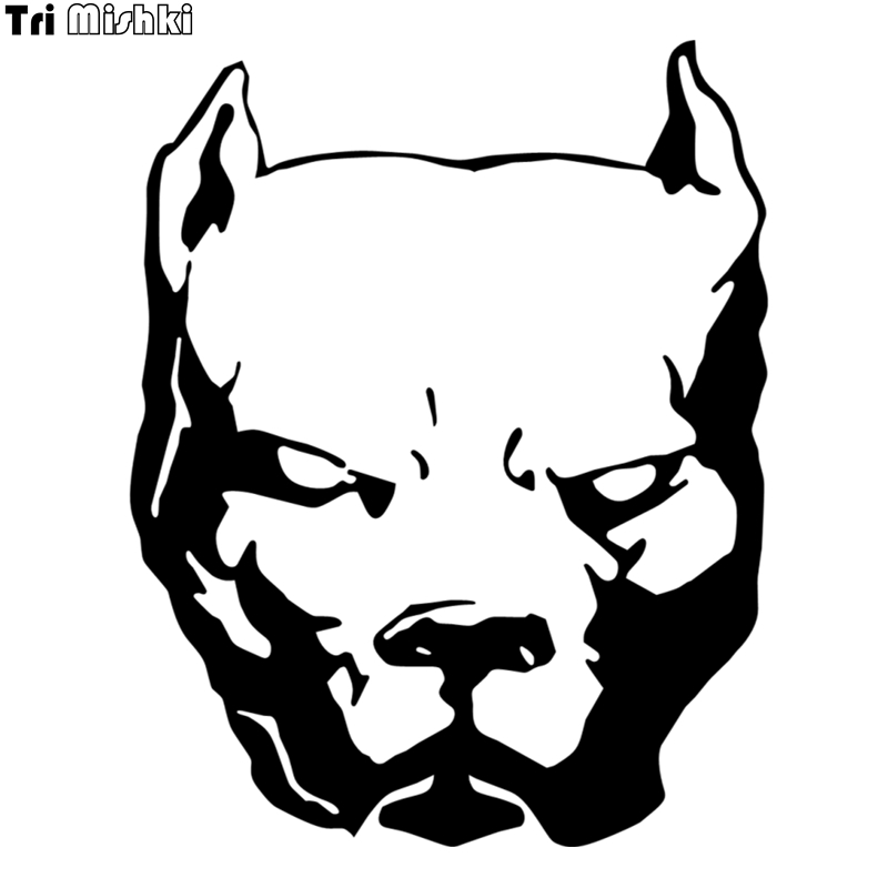 Tri Mishki HZX060 18.8*15cm 50*40cm Dangerous Dog Pitbull Car Sticker Vinyl Decals For Auto Motorcycle Accessories Sticker