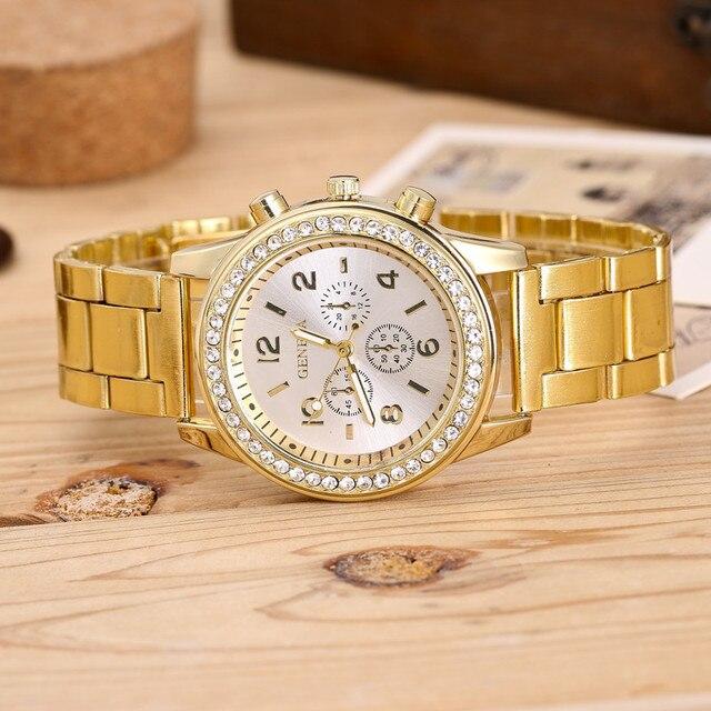 2019 mode robe montres femmes hommes Faux chronographe Quartz plaqué classique rond cristaux montre relogio masculino horloge décontractée 2