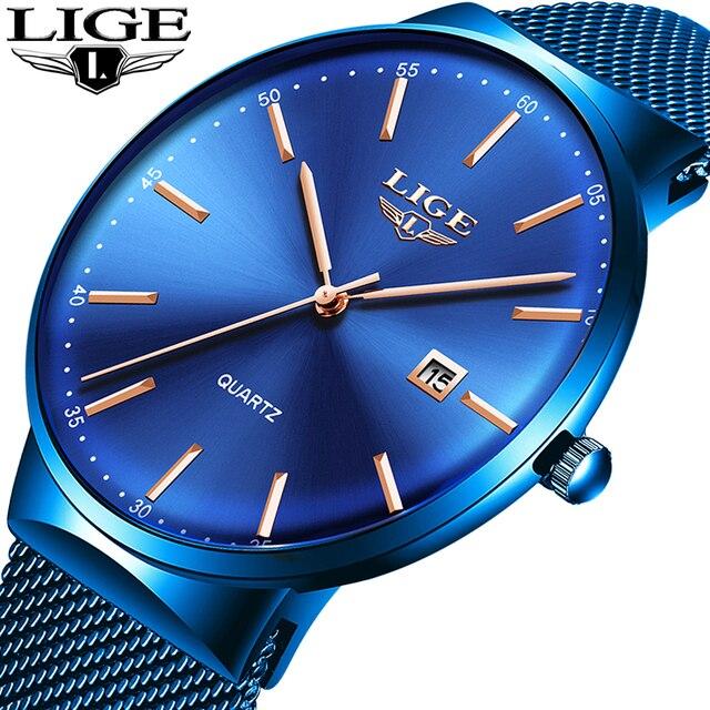 ליגע גברים שעון עמיד למים תאריך לוח שנה אנלוגי שעוני יד Mens עסקים מקרית קוורץ שעונים לגבר שעון Reloj Hombre + תיבה