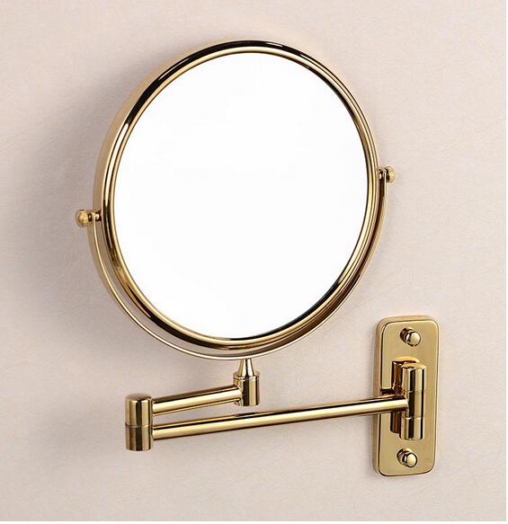 Gold brass wall makeup mirror 8 inch bathroom decorative mirror dressing-up mirror cosmetic mirror guess new white illusion panel halter dress msrp $129 dbfl