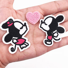 1pcs Mickey Minnie Embroidered Patch Iron On Cartoon Clothes Patch For Girls Boys Iron Patch Stickers Garment Accessories(China)