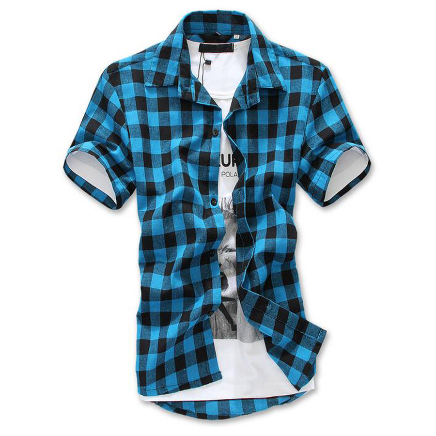 Short sleeve plaid shirts mens custom shirt Short sleeve plaid shirts