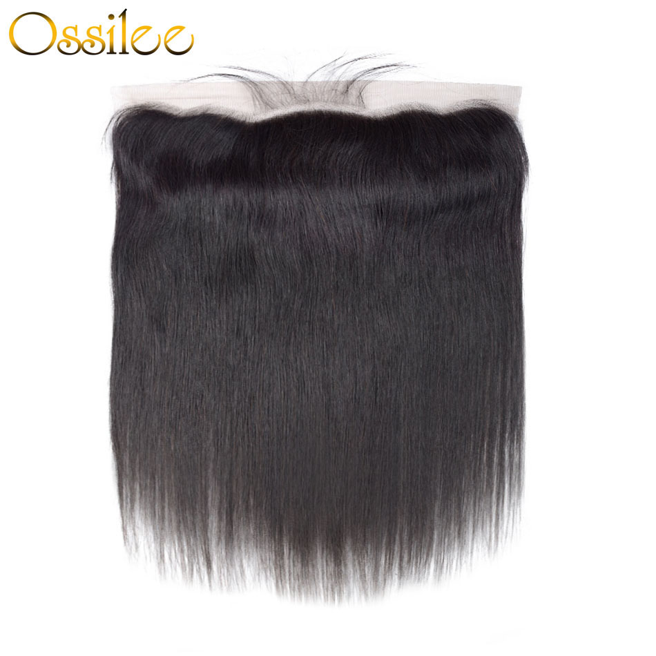 Ossilee Straight Lace Frontal 1pcs/lot Brazilian Hair Lace Closure Ear to Ear 13x4 Frontal Remy Hair 130% Denisty Human Hair