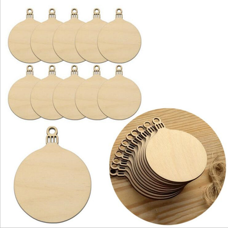 10pcs Wooden Round Baubles Tags Christmas Trees Toys Decorations Craft Toys Ornaments Christmas DIY Craft Kids Toys For Children