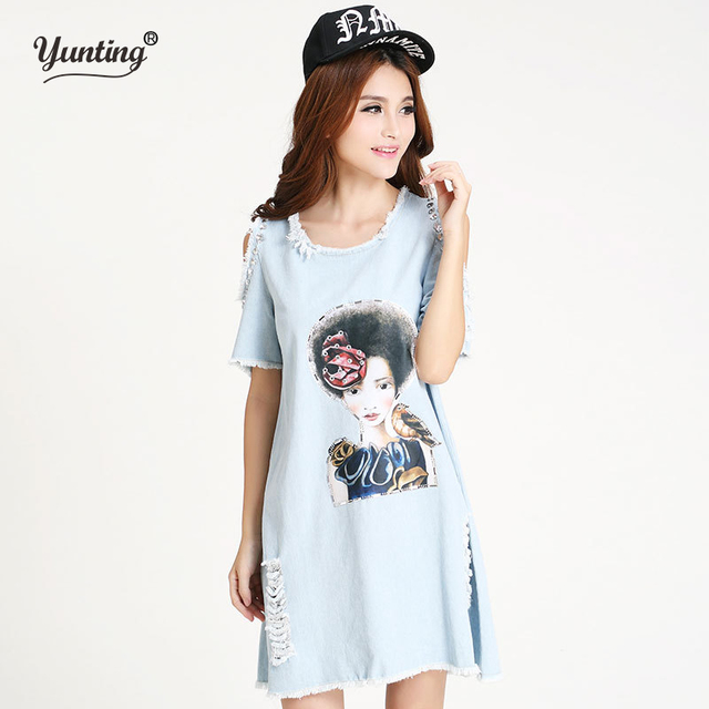 M L summer new arrival women denim casual dresses ladies loose jeans dress  high street 36e03a2b337f