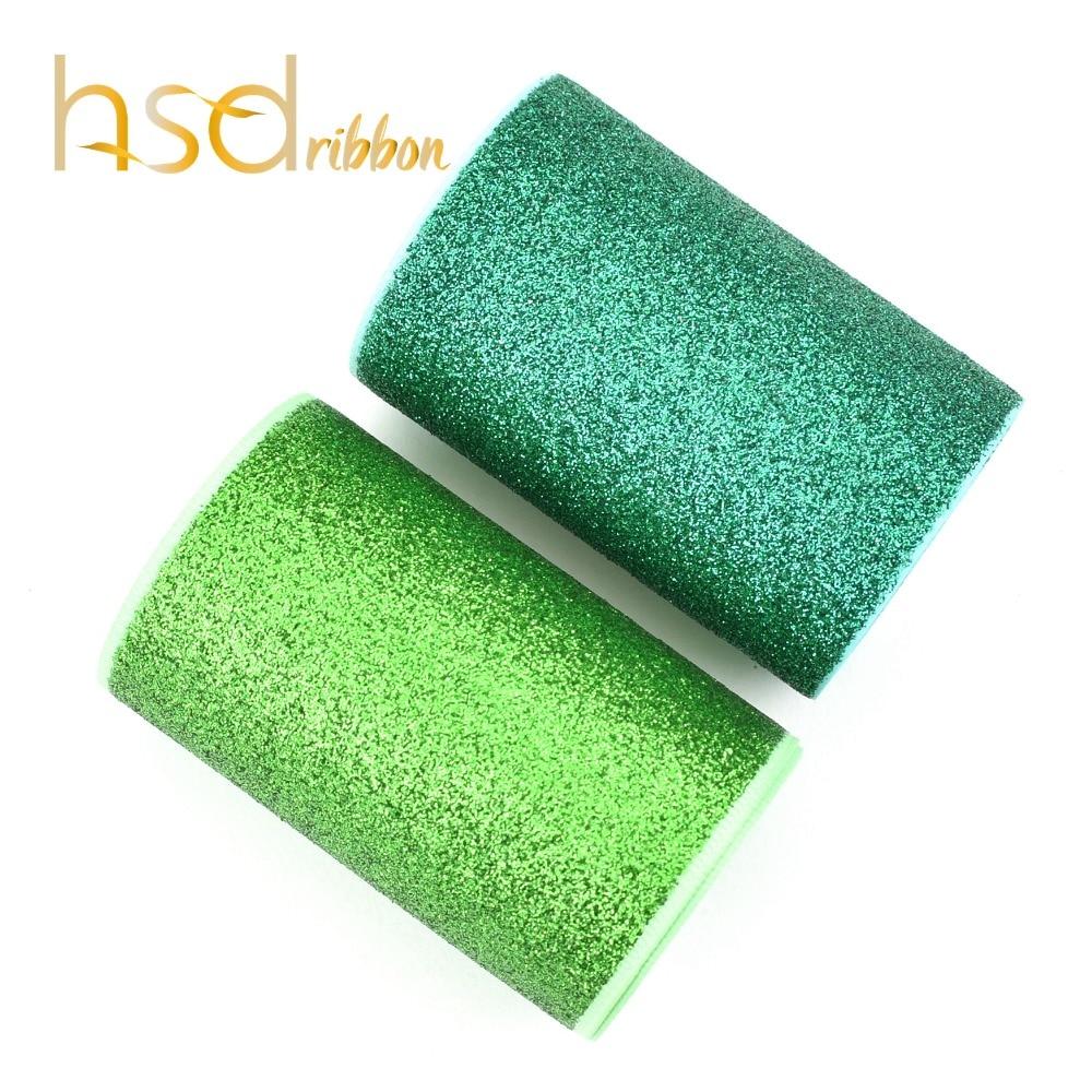 HSDRibbon 75MM 3 inch Apple Green and Fern Green Navy Glitter Printed Grosgrain Ribbon