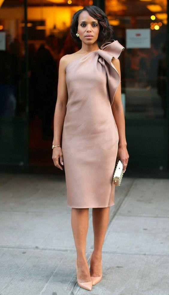 Elegant 2019 Elegant Cocktail Dresses Sheath One-shoulder Knee Length Short Homecoming Dresses