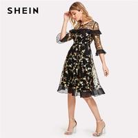 SHEIN Botanical Embroidered 3 4 Sleeve Mesh Overlay Ruffle Dress Black Round Neck High Waist Flare