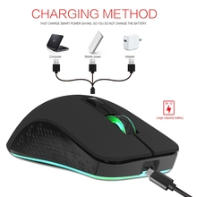 2.4GHz 6-Keys Wireless Gaming Mouse with 2400/1800/1200/800DPI USB Mouse Gamer Built-in Rechargeable Battery for Computer Laptop