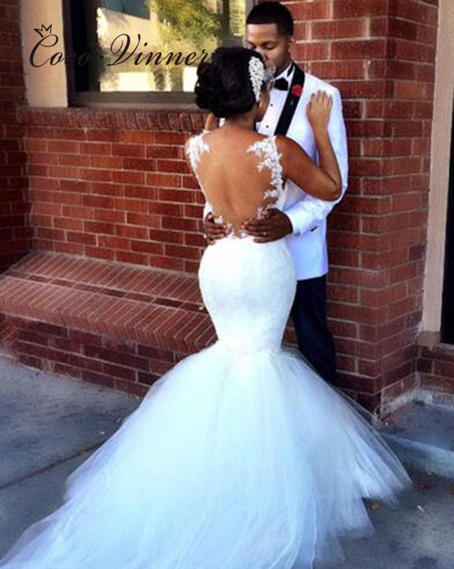 Illusion Back Sexy African Mermaid Wedding Dresses 2019 Appliques Lace Vintage Wedding Gown Plus Size Wedding Dress W0418