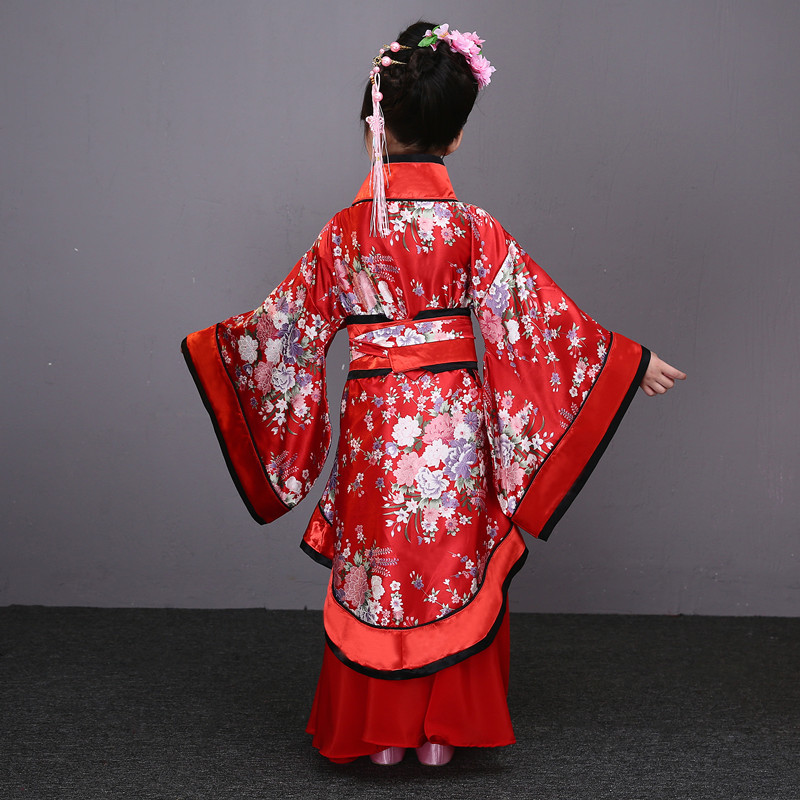 Традиционные китайские танцевальные костюмы для девочек, древняя опера династии Тан, Хан мин ханьфу, платье, детская одежда, народные танцевальные Детские костюмы