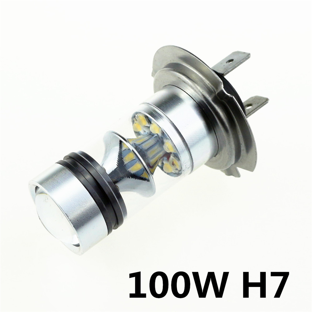YUMSEEN 2X H7 6000K 100W LED 20-SMD Projector Fog light day running light Bulbs HID White DRL free shipping