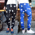 Hot Drop Crotch Pants New 2016 Brand Stars Printed Tapered Mens Harem Pants Trousers Men Jogger Sweatpants for Mens Star Pattern