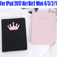 15pcs PU Leather Smart Case For IPad 2017 Air/Air2 4/3/2 Fashion Crown Cross Style Cover for iPad Mini 4/3/2/1 ID706