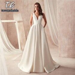 Famous Design Satin Wedding Dress with Pocket V-neck Cutout Side Open Back Bridal Dress Pocket vestido longo de festa 1