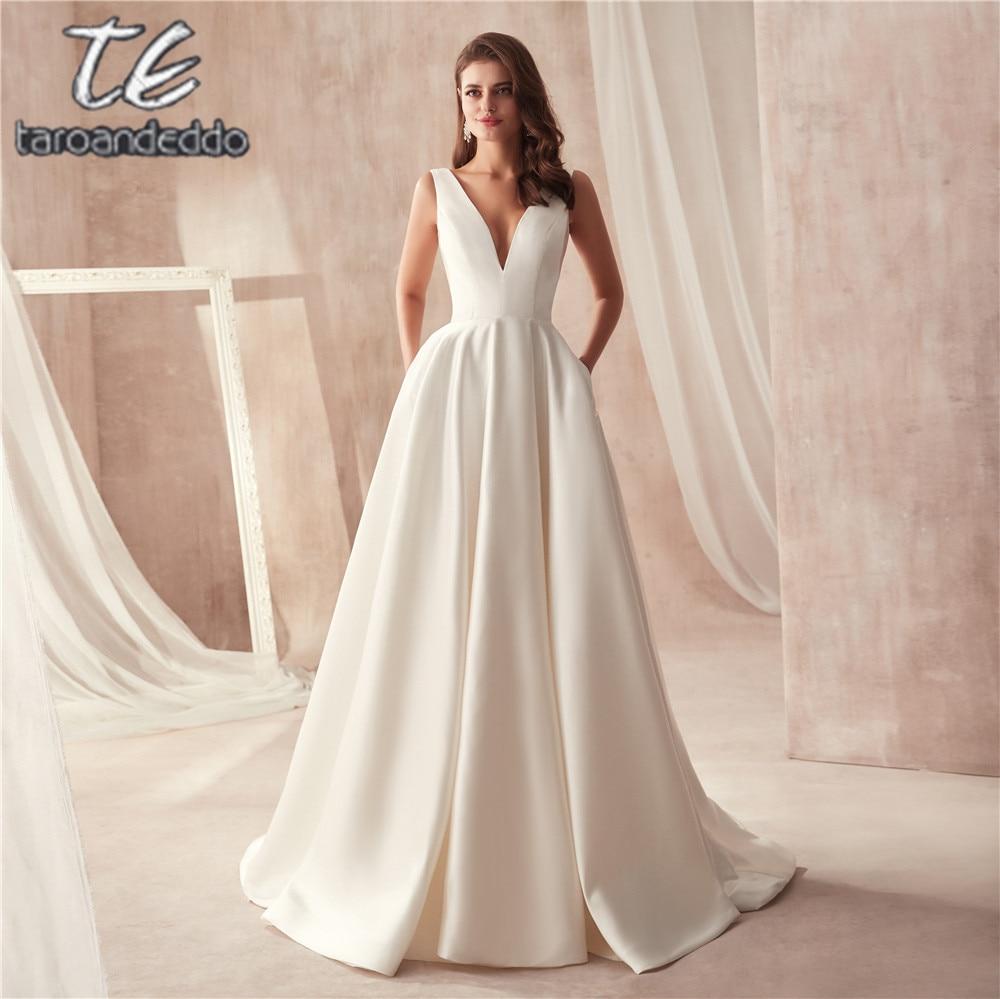 Vestido de casamento de cetim de design famoso com bolso decote em v recorte lado aberto para trás vestido de noiva bolso longo festa