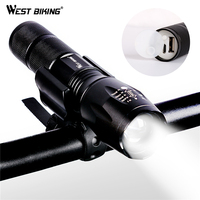 WEST BIKING Bicycle Light USB Rechargeable Focusing Flashlight Waterproof Cycling Front LED Light Bright Torch Lamp
