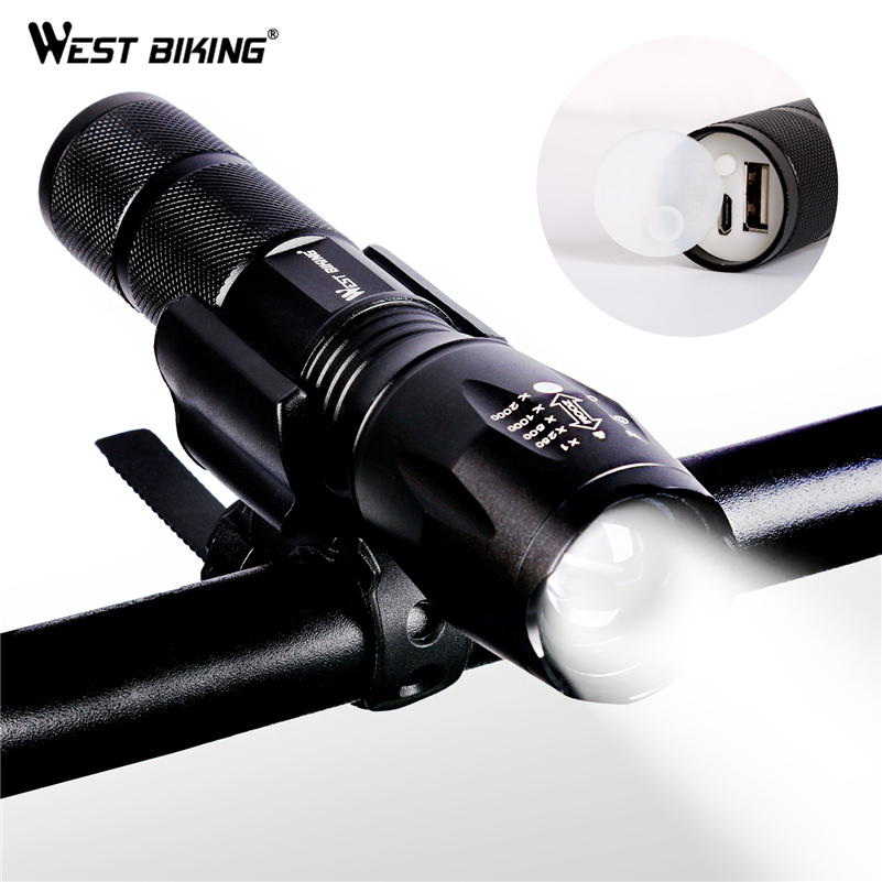 WEST BIKING Bicycle Light USB Rechargeable Focusing Flashlight Waterproof Cycling Front LED Light Bright Torch Lamp Bike Lights summer color block fake pocket shirt collar short sleeves button down shirt for men
